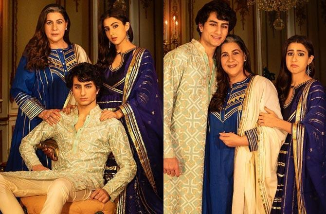Sara Ali Khan's royal pose with brother Ibrahim, mother Amrita in festive photo-op