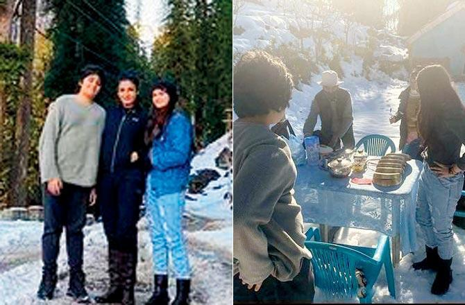 The camp life: Raveena Tandon is enjoying the season's first snowfall