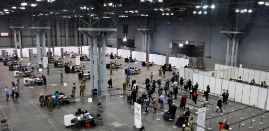New York opens mass Covid vaccination site at Javits Convention Center