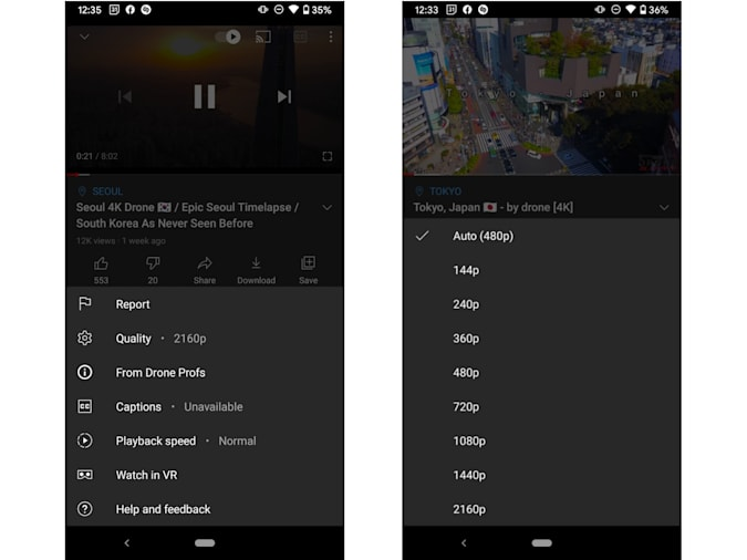 YouTube 4K and HDR Android